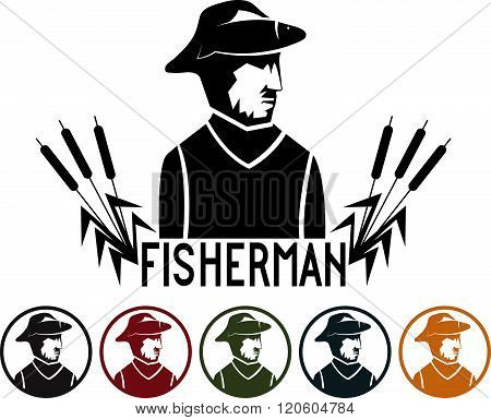 Fisherman Illustration And Icons Set . Concept Of Graphic Clipart Work