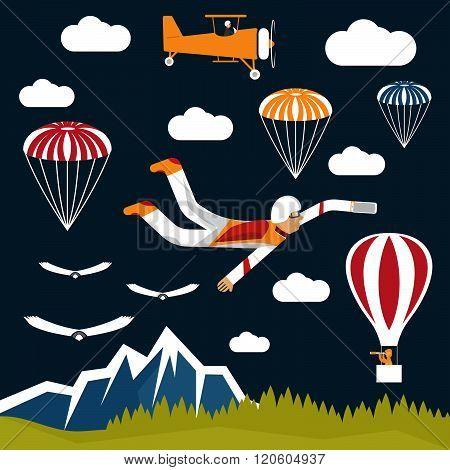 Extreme Selfie Parachutist Flat Design Illustration . Concept Of Graphic Clipart Work