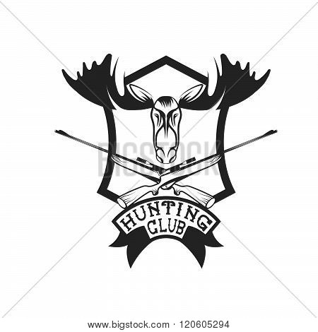 Hunting Club Crest With Carbines And Elk