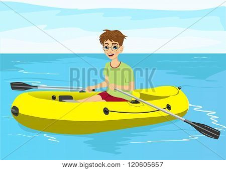 teenager boy with glasses in yellow rubber boat