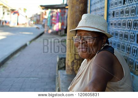 Beautiful middle aged Garifuna woman in Livingston, Guatemala
