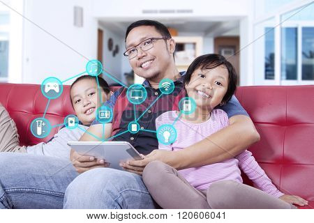 Family Using Smart House Controllers And Smiling