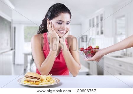 Model Choosing Strawberry Rather Than Burger