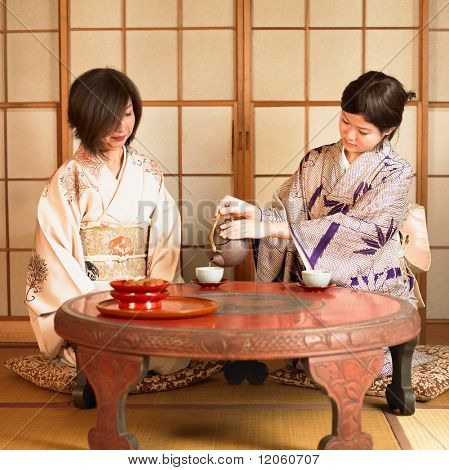 Two Asian women drinking tea