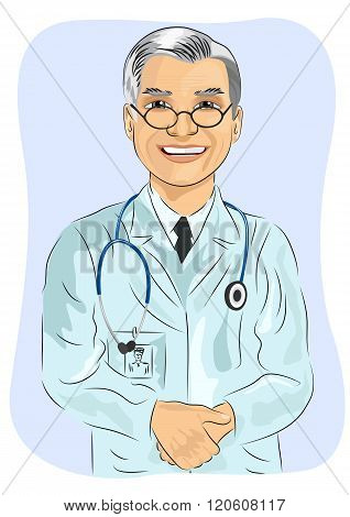 mature male doctor with glasses standing with his hands clasped