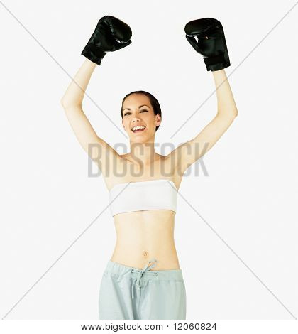 Female boxer celebrating her victory