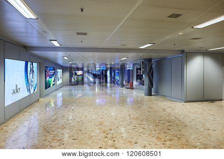 GENEVA, SWITZERLAND - NOVEMBER 18, 2015: interior of Geneva Airport. Geneva International Airport is the international airport of Geneva, Switzerland. It is located 4 km northwest of the city centre.