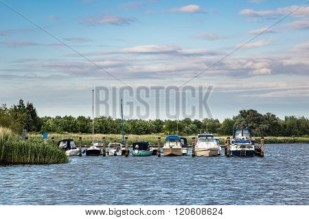 The River Warnow With Some Boats