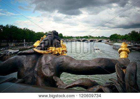 Paris River Seine and Alexandre III Bridge