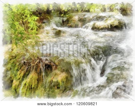 Small waterfall on a rocky mountain stream