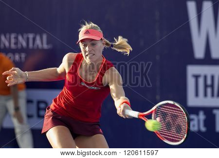 HUA HIN-DEC 31: Angelique Kerber of Germany in action during a match of WORLD TENNIS THAILAND CHAMPIONSHIP 2016 at True Arena Hua Hin on December 31 2015 in Hua Hin Thailand