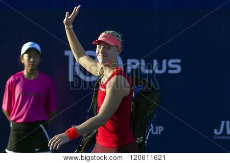 HUA HIN ,THAILAND -JAN 1: Angelique Kerber of Germany in action during a match of WORLD TENNIS THAILAND CHAMPIONSHIP 2016 at True Arena Hua Hin on January 1 2016 in Hua Hin Thailand