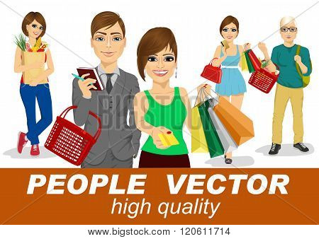 people vector with shopping people