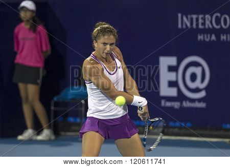 HUA HIN, THAILAND - DEC 31:  Sara Errani of Italy in action during a match of WORLD TENNIS