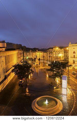 PORTO, NORTE, PORTUGAL - DECEMBER 8, 2015: Square with Sao Joao National Theatre in Porto in Portugal.