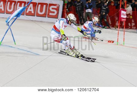 STOCKHOLM SWEDEN - FEB 23 2016: Wendy Holdener (SUI) and competitor skiing at the Audis FIS Alpine Ski World Cup - city event February 23 2016 Stockholm Sweden