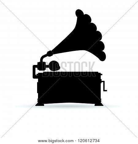 Gramophone Black Illustration
