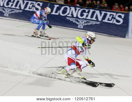 STOCKHOLM SWEDEN - FEB 23 2016: Wendy Holdener (SUI) and comprtitor skiing at the FIS Alpine Ski World Cup - city event February 23 2016 Stockholm Sweden