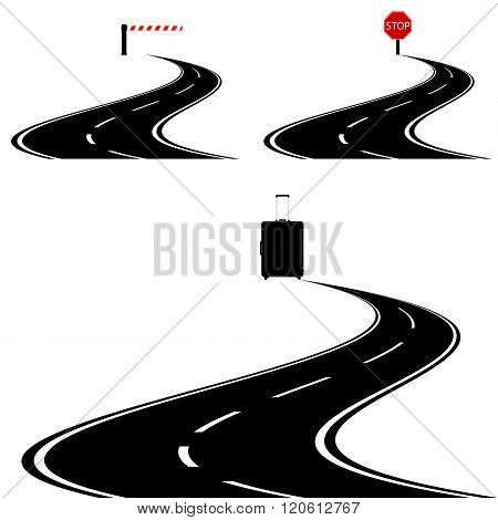 Travel Bag With Road And Stop Sign Illustration