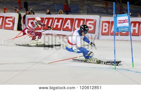 STOCKHOLM SWEDEN - FEB 23 2016: Skier Andre Myhrer (SWE) and competitor at the Audis FIS Alpine Ski World Cup - city event February 23 2016 Stockholm Sweden
