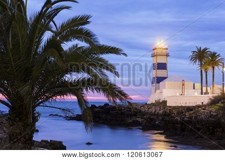 Santa Maria Lighthouse In Cascais In Portugal