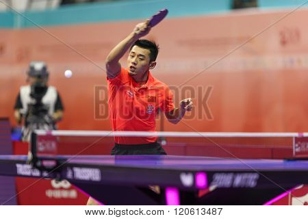 KUALA LUMPUR, MALAYSIA - MARCH 01, 2016: Zhang Jike of China plays return shot in his match in the Perfect 2016 World Team Table-tennis Championships held in Kuala Lumpur, Malaysia.