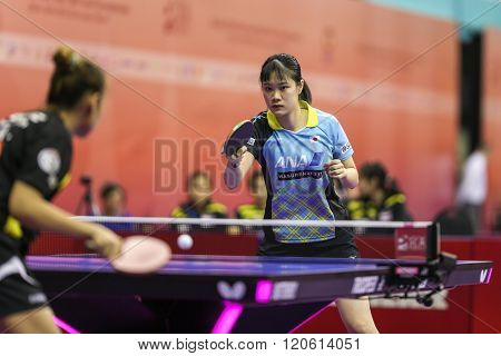 KUALA LUMPUR, MALAYSIA - MARCH 01, 2016:Yui Hamamoto of Japan plays return shot in her match in the Perfect 2016 World Team Table-tennis Championships held in Kuala Lumpur, Malaysia.
