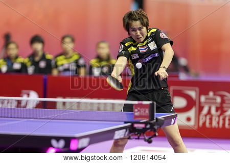 KUALA LUMPUR, MALAYSIA - MARCH 01, 2016: Nanthana Komwong of Thailand plays a return shot in her match in the Perfect 2016 World Team Table-tennis Championships held in Kuala Lumpur, Malaysia.