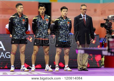 KUALA LUMPUR, MALAYSIA - MARCH 01, 2016: China men's team gets introduced to the spectators before their match in the Perfect 2016 World Team Table-tennis Championships held in Kuala Lumpur, Malaysia.
