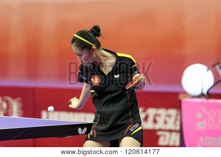 KUALA LUMPUR, MALAYSIA - MARCH 01, 2016: Zhang Xuan of Spain prepares to hit a return in her match in the Perfect 2016 World Team Table-tennis Championships held in Kuala Lumpur, Malaysia.