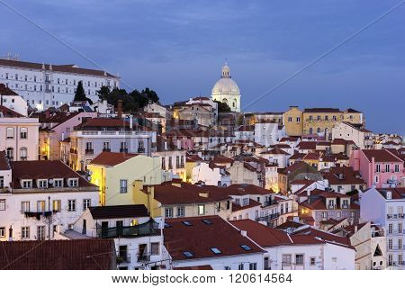 View On Old Town In Lisbon In Portugal