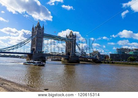 LONDON UK - JUNE 6 2015: Tower Bridge on blue sky background