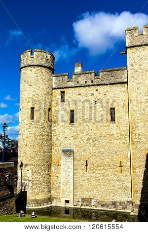 LONDON UK - JUNE 6 2015 : Historic building at Tower of London historic castle on the north bank of the River Thames in central London - a popular tourist attraction