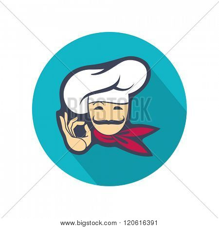 colored icon with whiskered chef