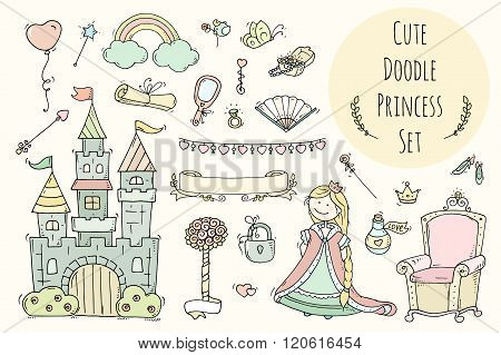 Cute Cartoon Princess Collection With Throne, Castle, Jewerly, Crown.