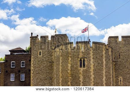 Tower of London historic castle on the north bank of the River Thames in central London - a popular tourist attraction.