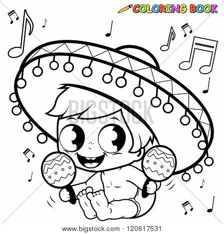 Mariachi baby boy playing the maracas coloring page