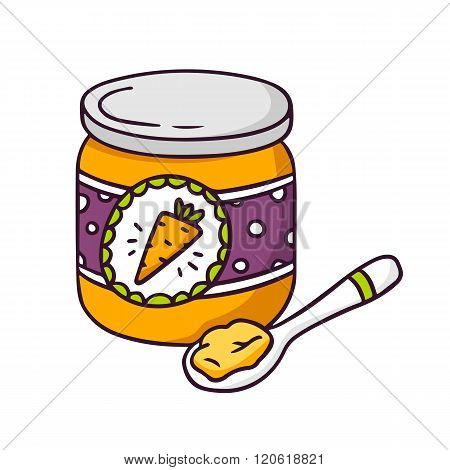 Vector Baby Food Jar Isolated On White