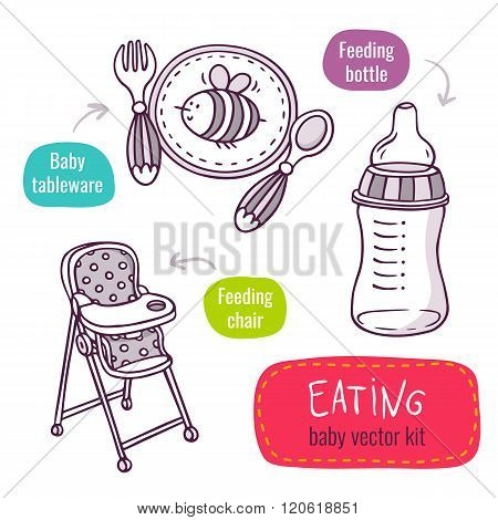 Baby Tableware, High Feeding Chair And Milk Bottle - Vector Line Art Icon Set With Baby Products For