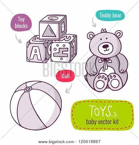 Toy Blocks, Teddy Bear And Ball - Vector Line Art Icon Set With Baby Toys Isolated On White
