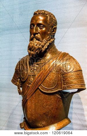 LONDON UK - JUNE 6 2015: Emperor Charles V sculpture by Leone Leone made in Milan Italy bronze 1554-6. V&A museum