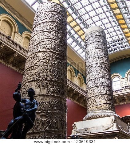 LONDON UK - JUNE 6 2015: The Cast Courts at the Victoria and Albert Museum. The room includes a plaster copy of Trajan's column divided in 2 sections due to its height. ** Note: Visible grain at 100%, best at smaller sizes