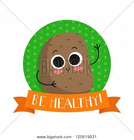 Potato, Cute Vegetable Vector Character Badge