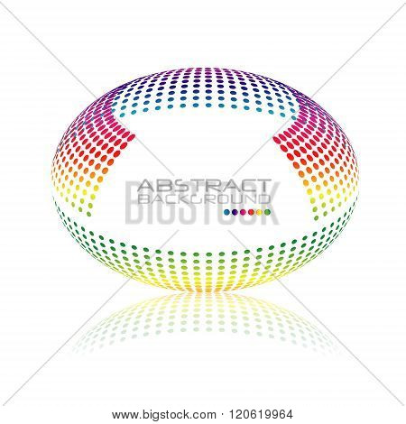 Multicolored globe vector. Oval sphere abstract desing. Colorful dots design. Sphere Dots.Vector Sphere. Oval Sphere.Vector Sphere. Sphere Illustration. Sphere Halftone.Sphere Logo. Icon Sphere.