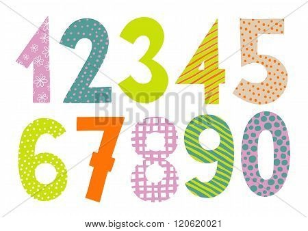Set of numbers 0-9 letters vector.