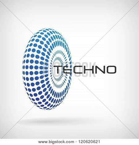 Vector dotted background. Wheel logo of dots. Dots wheel 3d pattern. Blue dots abstract logo.