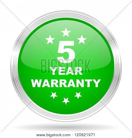 warranty guarantee 5 year green modern design web glossy icon