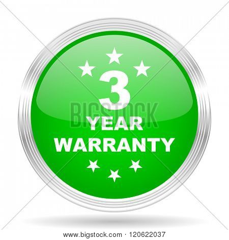 warranty guarantee 3 year green modern design web glossy icon