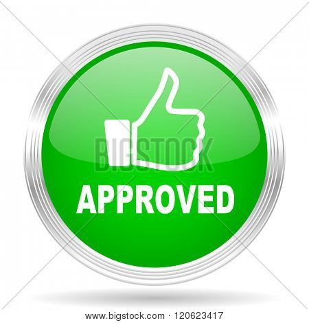 approved green modern design web glossy icon