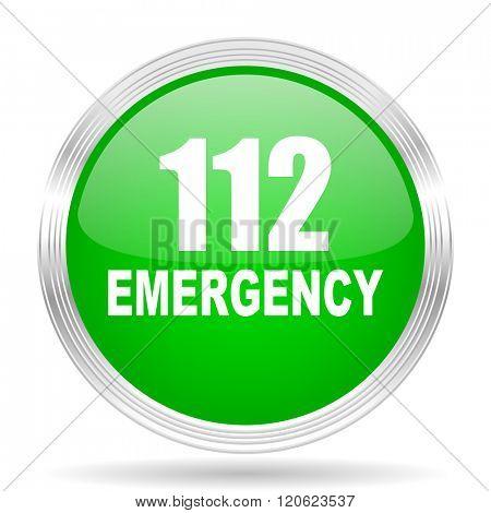 number emergency 112 green modern design web glossy icon